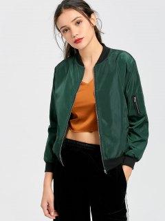 Zip Up Plain Pilot Jacket - Blackish Green S