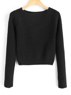 Long Sleeve Fitting Pullover Sweater - Black
