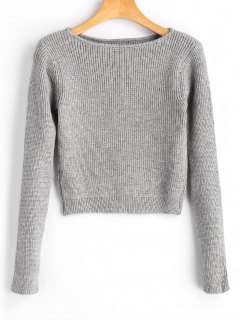 Long Sleeve Fitting Pullover Sweater - Gray