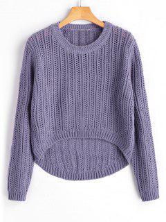 Pull Épais Haut-Bas  - Gris Violet