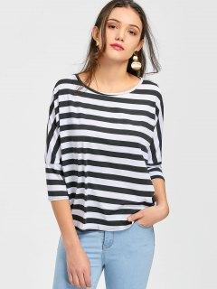 Camiseta Con Cuello Redondo A Rayas - Raya S
