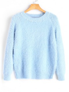 Textured Faux Pearls Pullover Sweater - Light Blue