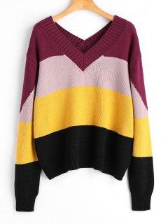 Pullover V Neck Striped Sweater - Stripe