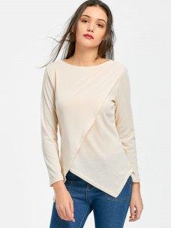 Camiseta Asimétrica De Manga Larga Con Dobladillo Asimétrico - Albaricoque S