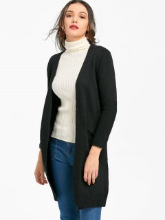Longline Open Cardigan With Pockets - Black