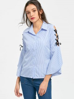 Button Up Striped Lace Up Shirt - Light Blue S