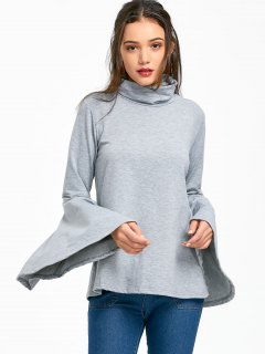 Sweatshirt Mit Rundhalsausschnitt Und Flare Ärmel  - Grau L