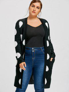 Plus Size Polka Dot Tunic Cardigan - Black 5xl