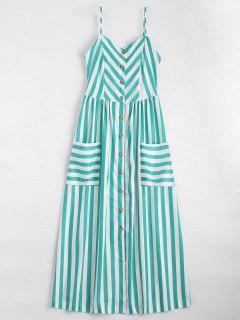 Button Up Striped Cami Dress - Lake Green Xl