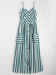 Button Up Striped Cami Dress - Blackish Green Xl