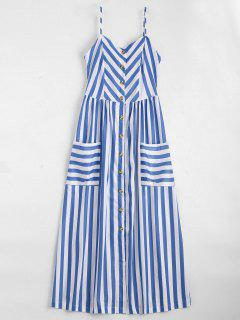 Button Up Striped Cami Dress - Violet Blue Xl