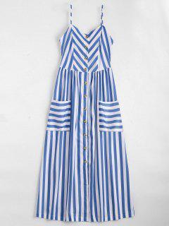 Vestido Con Tirante Fino A Rayas Con Botones - Violeta Azul  S