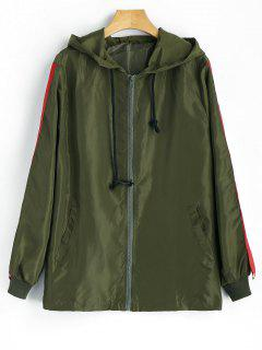 Graphic Hooded Windbreaker - Army Green S