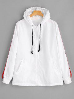 Graphic Hooded Windbreaker - White M