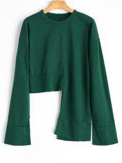 Split Sleeve Asymmetrical Sweatshirt - Blackish Green Xl
