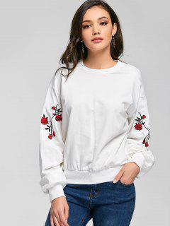 Camiseta Con Aplicación De Estampado De Flores Y Hombros Caídos - Blanco