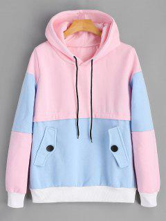Ribbed Trim Color Block Hoodie - Pinkish Blue S