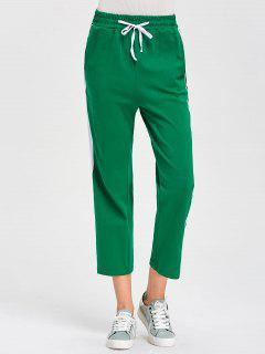 Striped Drawstring Sweatpants With Pockets - Green