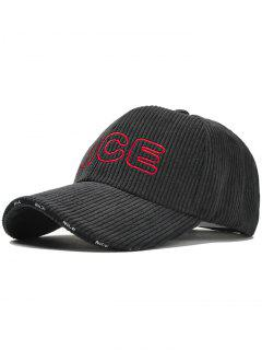 Nice Pattern Embroidery Corduroy Baseball Cap - Black