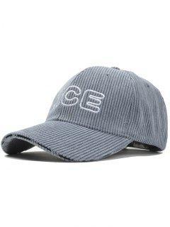 Nice Pattern Embroidery Corduroy Baseball Cap - Gray
