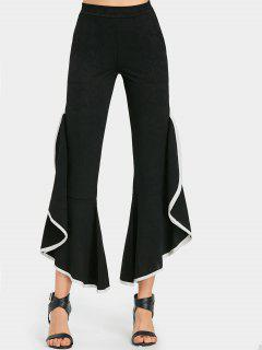Frilled Bell Bottoms Pants - Black L