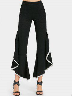 Pantalones Con Parte Inferior De Campana Con Volantes - Negro L