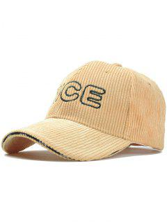Nice Pattern Embroidery Corduroy Baseball Cap - Light Khaki