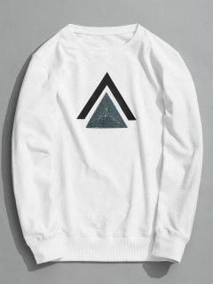 Geometric Patterned Sweatshirt - White L