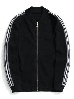 Zippered Striped Knitted Coat - Black 2xl