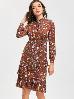Half Button Pleated Ruffled Floral Print Dress - Brick-red S