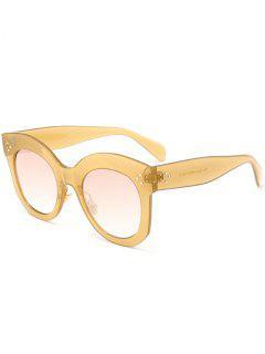 Retro UV Protection Full Frame Sunglasses - Light Brown