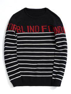 Letter Striped Sweater - Black 2xl