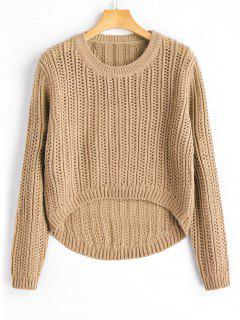 Sheer High Low Pullover Sweater - Khaki