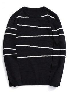 Crew Neck Stripe Sweater - Black 2xl