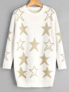Pull Long à Étoile Brillante - Blanc