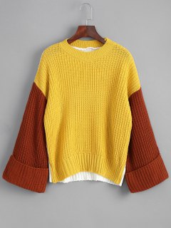 Pullover Color Block Oversized Sweater - Yellow