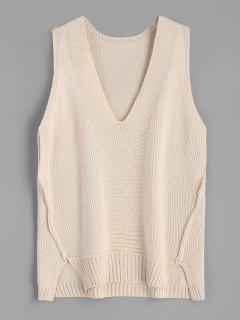 V-neck Sweater Vest - Apricot