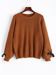 Lantern Sleeve Bowknot Pullover Sweater - Light Brown