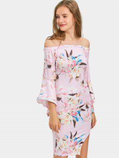 Slit Off Shoulder Floral Bodycon Dress - Pink L