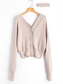 V Neck Button Up Choker Cardigan - Apricot