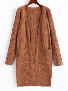 Ribbed Open Front Cardigan With Pockets - Light Brown