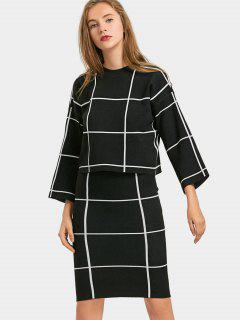 Grid Knitwear With Bodycon Skirt - Black