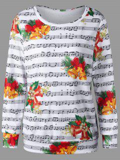 Christmas Music Score And Bell Print Sweatshirt - S