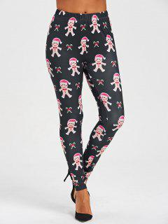 Christmas Gingerbread Man Print Leggings - Black S