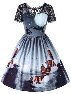 Christmas Sheer Lace Yoke Swing Dress - Icelandic L