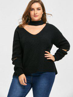 Plus Size Choker V Neck Zipper Sleeve Sweater - Black 3xl