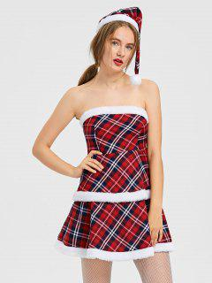 Plaid Christmas Trim Strapless Dress With Hat - Checked L