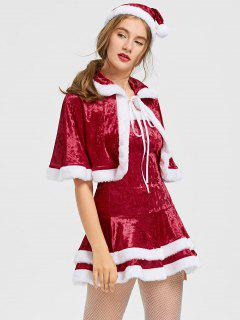Christmas Two Tone Strapless Dress And Cape - Red And White L