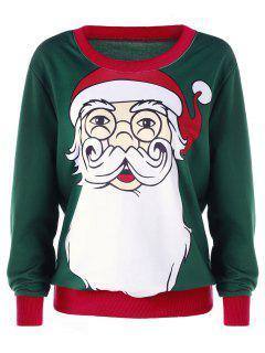 Plus Size Christmas Santa Claus Print Sweatshirt - Deep Green 5xl