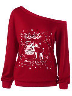 Christmas Plus Size Skew Collar Sweatshirt - Red Xl